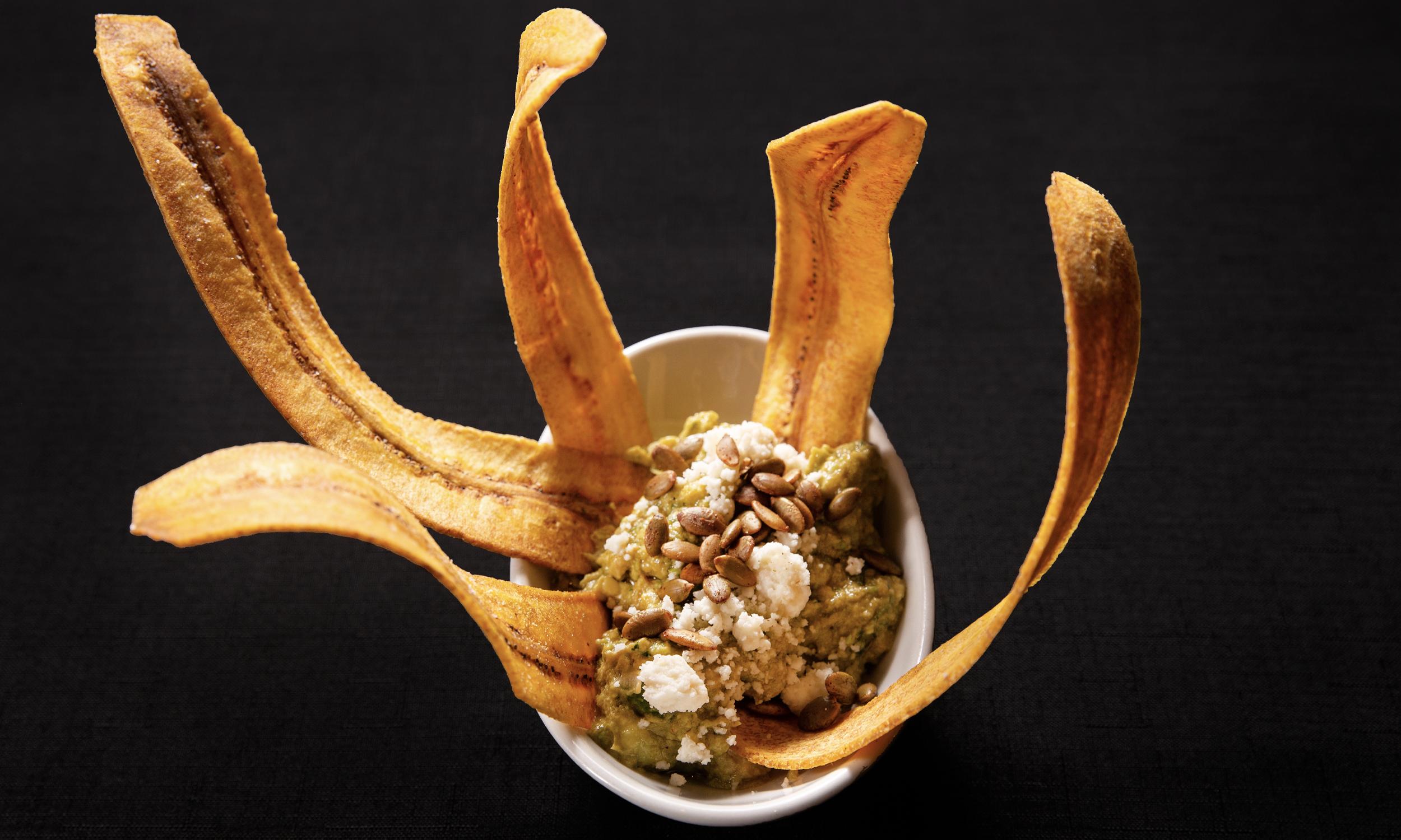 Crispy Green Plantain Chips & Guacamole
